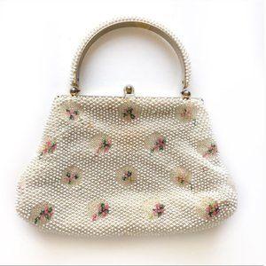Vintage Cream Beaded Top Handle Clutch Evening Bag